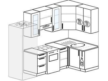 Угловая кухня 5,2 м² (2,4✕1,2 м), верхние модули 920 мм, холодильник, отдельно стоящая плита