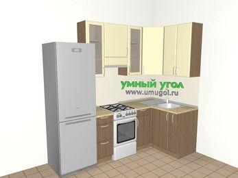 Угловая кухня МДФ матовый 5,2 м², 2400 на 1200 мм, Ваниль / Лиственница бронзовая, верхние модули 920 мм, холодильник, отдельно стоящая плита