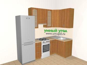 Угловая кухня МДФ матовый 5,2 м², 2400 на 1200 мм, Вишня: верхние модули 920 мм, холодильник, отдельно стоящая плита, корзина-бутылочница