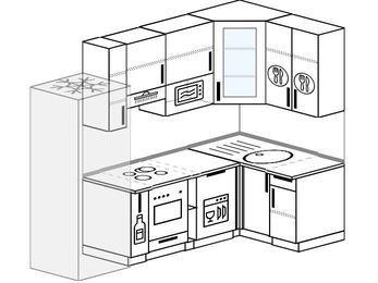 Угловая кухня 5,2 м² (2,4✕1,2 м), верхние модули 92 см, посудомоечная машина, модуль под свч, встроенный духовой шкаф, холодильник