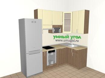 Угловая кухня МДФ матовый 5,2 м², 2400 на 1200 мм, Ваниль / Лиственница бронзовая, верхние модули 920 мм, посудомоечная машина, модуль под свч, встроенный духовой шкаф, холодильник