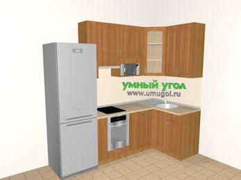 Угловая кухня МДФ матовый 5,2 м², 2400 на 1200 мм, Вишня, верхние модули 920 мм, посудомоечная машина, модуль под свч, встроенный духовой шкаф, холодильник