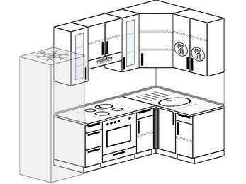 Угловая кухня 5,2 м² (2,4✕1,2 м), верхние модули 92 см, встроенный духовой шкаф, холодильник