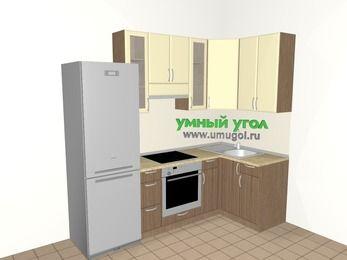 Угловая кухня МДФ матовый 5,2 м², 2400 на 1200 мм, Ваниль / Лиственница бронзовая, верхние модули 920 мм, встроенный духовой шкаф, холодильник