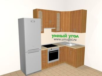 Угловая кухня МДФ матовый 5,2 м², 2400 на 1200 мм, Вишня, верхние модули 920 мм, встроенный духовой шкаф, холодильник