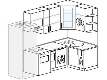 Угловая кухня 5,2 м² (2,4✕1,2 м), верхние модули 92 см, посудомоечная машина, холодильник, отдельно стоящая плита