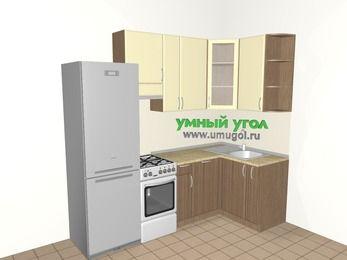Угловая кухня МДФ матовый 5,2 м², 2400 на 1200 мм, Ваниль / Лиственница бронзовая, верхние модули 920 мм, посудомоечная машина, холодильник, отдельно стоящая плита