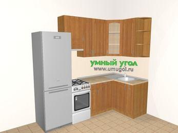Угловая кухня МДФ матовый 5,2 м², 2400 на 1200 мм, Вишня, верхние модули 920 мм, посудомоечная машина, холодильник, отдельно стоящая плита