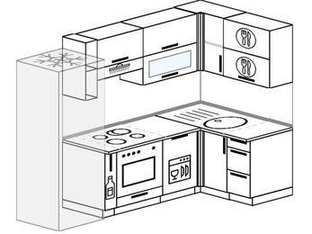 Планировка угловой кухни 5,2 м², 240 на 120 см: верхние модули 72 см, холодильник, корзина-бутылочница, встроенный духовой шкаф, посудомоечная машина
