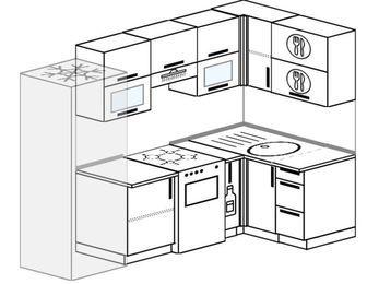 Планировка угловой кухни 5,2 м², 240 на 120 см: верхние модули 72 см, холодильник, отдельно стоящая плита, корзина-бутылочница