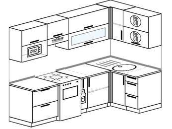 Планировка угловой кухни 5,2 м², 240 на 120 см: верхние модули 72 см, отдельно стоящая плита, корзина-бутылочница, верхний модуль под свч