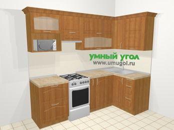 Угловая кухня МДФ матовый в классическом стиле 5,2 м², 240 на 120 см, Вишня, верхние модули 72 см, верхний модуль под свч, отдельно стоящая плита
