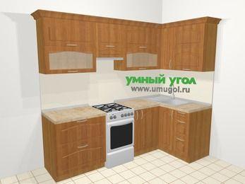 Угловая кухня МДФ матовый в классическом стиле 5,2 м², 240 на 120 см, Вишня, верхние модули 72 см, отдельно стоящая плита