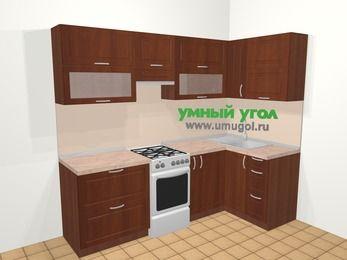 Угловая кухня МДФ матовый в классическом стиле 5,2 м², 240 на 120 см, Вишня темная, верхние модули 72 см, отдельно стоящая плита