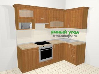 Угловая кухня МДФ матовый в классическом стиле 5,2 м², 240 на 120 см, Вишня, верхние модули 72 см, посудомоечная машина, верхний модуль под свч, встроенный духовой шкаф