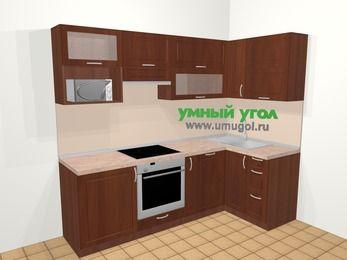 Угловая кухня МДФ матовый в классическом стиле 5,2 м², 240 на 120 см, Вишня темная, верхние модули 72 см, посудомоечная машина, верхний модуль под свч, встроенный духовой шкаф