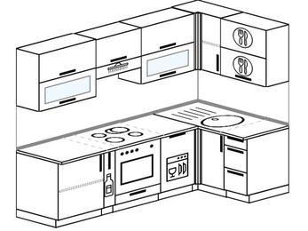 Планировка угловой кухни 5,2 м², 2400 на 1200 мм: верхние модули 720 мм, корзина-бутылочница, встроенный духовой шкаф, посудомоечная машина