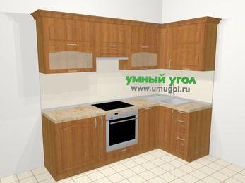 Угловая кухня МДФ матовый в классическом стиле 5,2 м², 240 на 120 см, Вишня, верхние модули 72 см, посудомоечная машина, встроенный духовой шкаф