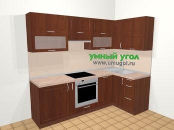 Угловая кухня МДФ матовый в классическом стиле 5,2 м², 240 на 120 см, Вишня темная, верхние модули 72 см, посудомоечная машина, встроенный духовой шкаф