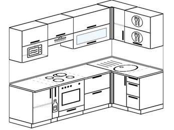 Планировка угловой кухни 5,2 м², 2400 на 1200 мм: верхние модули 720 мм, корзина-бутылочница, встроенный духовой шкаф, верхний модуль под свч