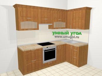 Угловая кухня МДФ матовый в классическом стиле 5,2 м², 240 на 120 см, Вишня, верхние модули 72 см, встроенный духовой шкаф