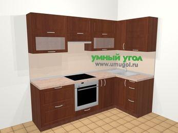 Угловая кухня МДФ матовый в классическом стиле 5,2 м², 240 на 120 см, Вишня темная, верхние модули 72 см, встроенный духовой шкаф
