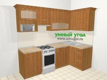Угловая кухня МДФ матовый в классическом стиле 5,2 м², 240 на 120 см, Вишня, верхние модули 72 см, посудомоечная машина, верхний модуль под свч, отдельно стоящая плита