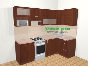 Угловая кухня МДФ матовый в классическом стиле 5,2 м², 240 на 120 см, Вишня темная, верхние модули 72 см, посудомоечная машина, верхний модуль под свч, отдельно стоящая плита