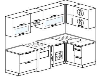 Планировка угловой кухни 5,2 м², 240 на 120 см: верхние модули 72 см, отдельно стоящая плита, корзина-бутылочница, посудомоечная машина