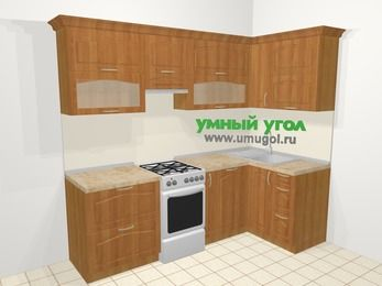Угловая кухня МДФ матовый в классическом стиле 5,2 м², 240 на 120 см, Вишня, верхние модули 72 см, посудомоечная машина, отдельно стоящая плита