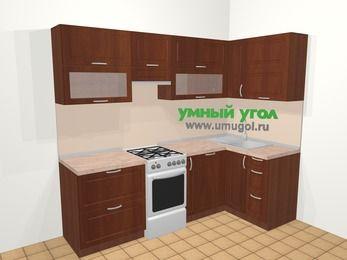 Угловая кухня МДФ матовый в классическом стиле 5,2 м², 240 на 120 см, Вишня темная, верхние модули 72 см, посудомоечная машина, отдельно стоящая плита