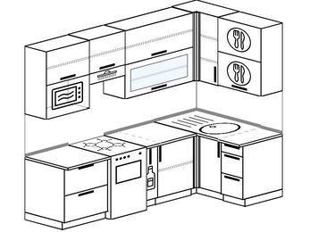 Угловая кухня 5,2 м² (2,4✕1,2 м), верхние модули 920 мм, верхний витринный модуль под свч, отдельно стоящая плита