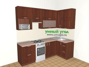 Угловая кухня МДФ матовый 5,2 м², 2400 на 1200 мм, Вишня темная, верхние модули 920 мм, верхний витринный модуль под свч, отдельно стоящая плита