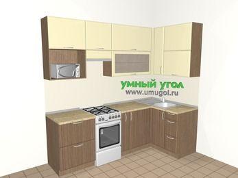 Угловая кухня МДФ матовый 5,2 м², 2400 на 1200 мм, Ваниль / Лиственница бронзовая, верхние модули 920 мм, верхний витринный модуль под свч, отдельно стоящая плита