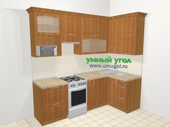 Угловая кухня МДФ матовый в классическом стиле 5,2 м², 240 на 120 см, Вишня, верхние модули 92 см, верхний модуль под свч, отдельно стоящая плита