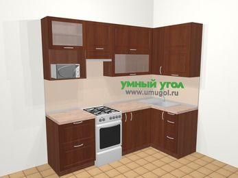 Угловая кухня МДФ матовый в классическом стиле 5,2 м², 240 на 120 см, Вишня темная, верхние модули 92 см, верхний модуль под свч, отдельно стоящая плита