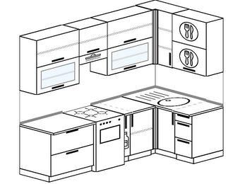 Угловая кухня 5,2 м² (2,4✕1,2 м), верхние модули 92 см, отдельно стоящая плита