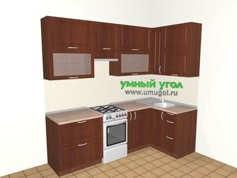 Угловая кухня МДФ матовый 5,2 м², 2400 на 1200 мм, Вишня темная, верхние модули 920 мм, отдельно стоящая плита
