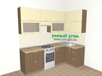 Угловая кухня МДФ матовый 5,2 м², 2400 на 1200 мм, Ваниль / Лиственница бронзовая, верхние модули 920 мм, отдельно стоящая плита