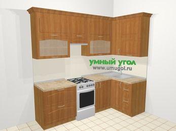Угловая кухня МДФ матовый в классическом стиле 5,2 м², 240 на 120 см, Вишня, верхние модули 92 см, отдельно стоящая плита