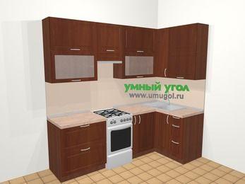 Угловая кухня МДФ матовый в классическом стиле 5,2 м², 240 на 120 см, Вишня темная, верхние модули 92 см, отдельно стоящая плита