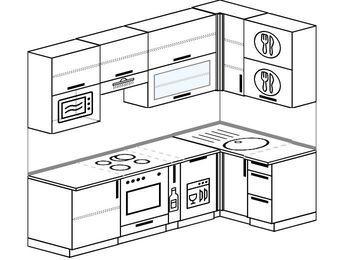Угловая кухня 5,2 м² (2,4✕1,2 м), верхние модули 920 мм, посудомоечная машина, верхний витринный модуль под свч, встроенный духовой шкаф