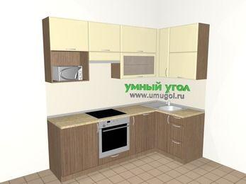 Угловая кухня МДФ матовый 5,2 м², 2400 на 1200 мм, Ваниль / Лиственница бронзовая, верхние модули 920 мм, посудомоечная машина, верхний витринный модуль под свч, встроенный духовой шкаф