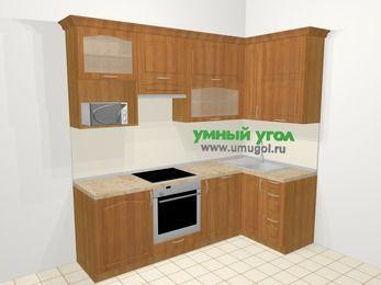 Угловая кухня МДФ матовый в классическом стиле 5,2 м², 240 на 120 см, Вишня, верхние модули 92 см, посудомоечная машина, верхний модуль под свч, встроенный духовой шкаф