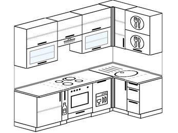 Угловая кухня 5,2 м² (2,4✕1,2 м), верхние модули 920 мм, посудомоечная машина, встроенный духовой шкаф