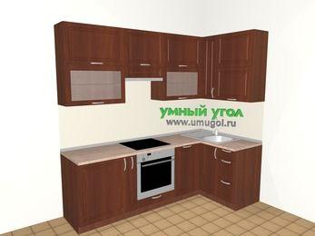 Угловая кухня МДФ матовый 5,2 м², 2400 на 1200 мм, Вишня темная, верхние модули 920 мм, посудомоечная машина, встроенный духовой шкаф