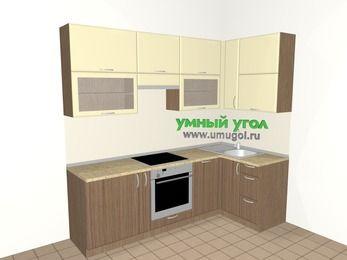 Угловая кухня МДФ матовый 5,2 м², 2400 на 1200 мм, Ваниль / Лиственница бронзовая, верхние модули 920 мм, посудомоечная машина, встроенный духовой шкаф