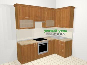 Угловая кухня МДФ матовый в классическом стиле 5,2 м², 240 на 120 см, Вишня, верхние модули 92 см, посудомоечная машина, встроенный духовой шкаф