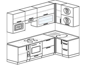 Угловая кухня 5,2 м² (2,4✕1,2 м), верхние модули 920 мм, верхний витринный модуль под свч, встроенный духовой шкаф