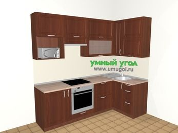 Угловая кухня МДФ матовый 5,2 м², 2400 на 1200 мм, Вишня темная, верхние модули 920 мм, верхний витринный модуль под свч, встроенный духовой шкаф